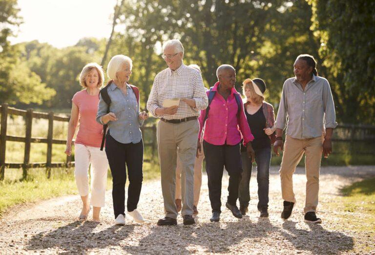 The Gardens of Castle Hills   Seniors walking outdoors